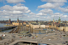 Stockholm viewed from a walking bridge leading to the Katarina lift  in Södermalm - Last view 2021-02-24