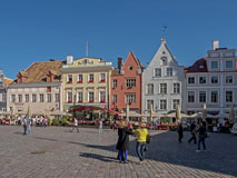 Old  merchant houses on the eastern side of the Town Hall Square (Raekoja plats) - Last view 2021-02-24