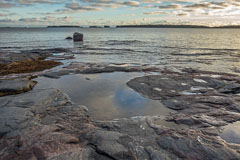 Haukilahti beach in December. Sea level above average. - Last view 2021-02-24
