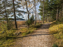A path along Espoo Waterfront Walkway - Rantaraitti  in October - Last view 2021-02-24